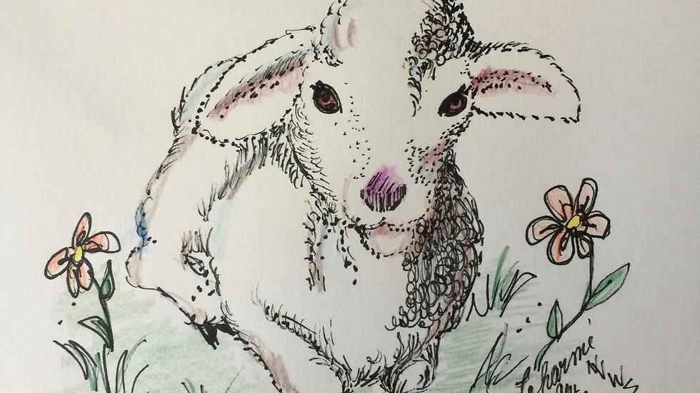"Lamb in Flowers 5""x 7"" Print"