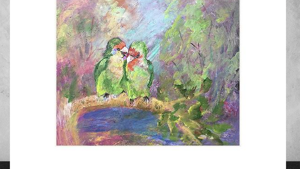 ".Love Birds   5""x7""  White Matted Print"