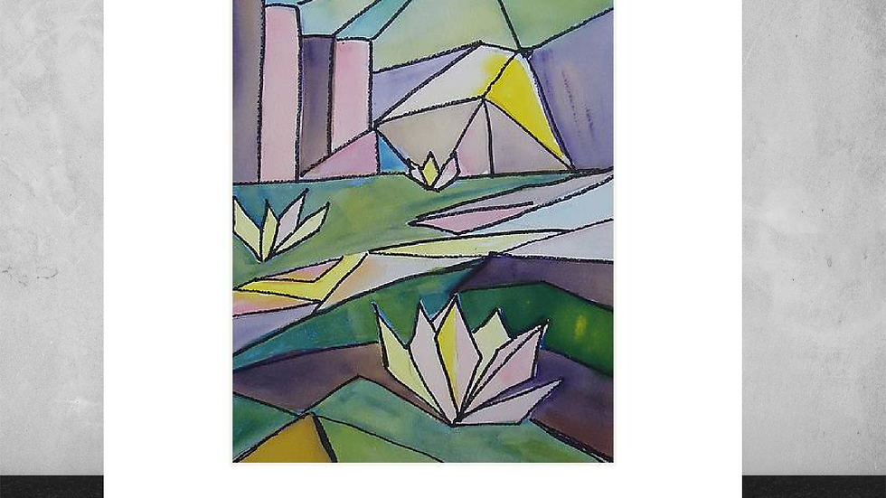 """"""" Abstract Lily Pond"""".     5"""" x7"""" White Matted Print"""