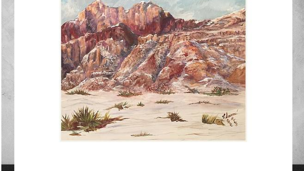 """"""" Red Rock in the Snow""""   5""""x 7"""" White Matted Print"""