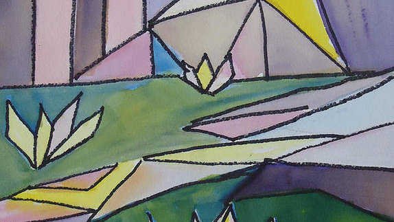 """"""" Abstract Lily Pond""""Print"""