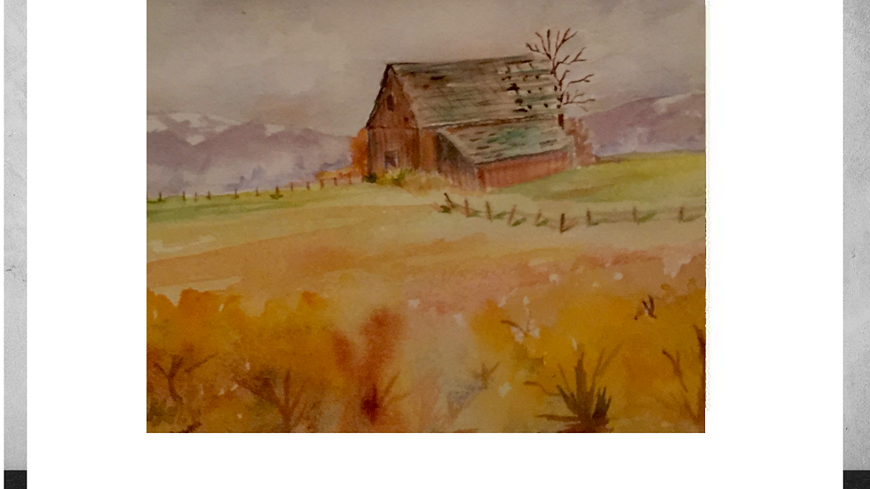 """Barn in Golden Field  5""""x7""""  White Matted Print"""