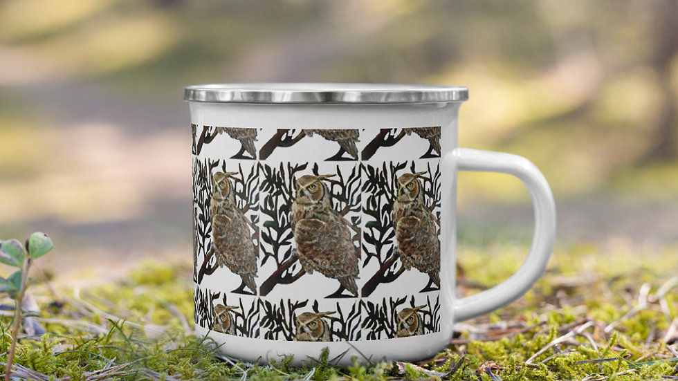 Great Horned Owl Enamel Mug