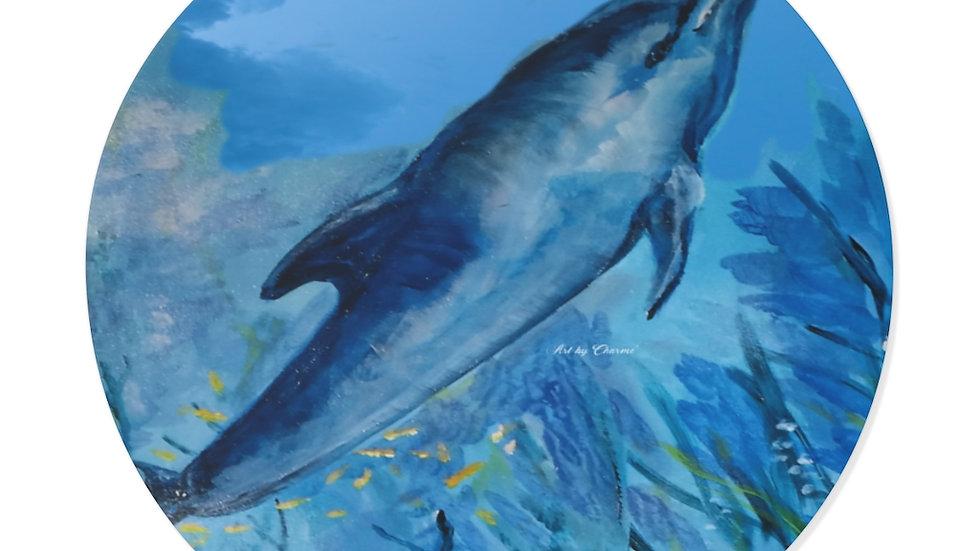 Blue Dolphin Round Vinyl Stickers