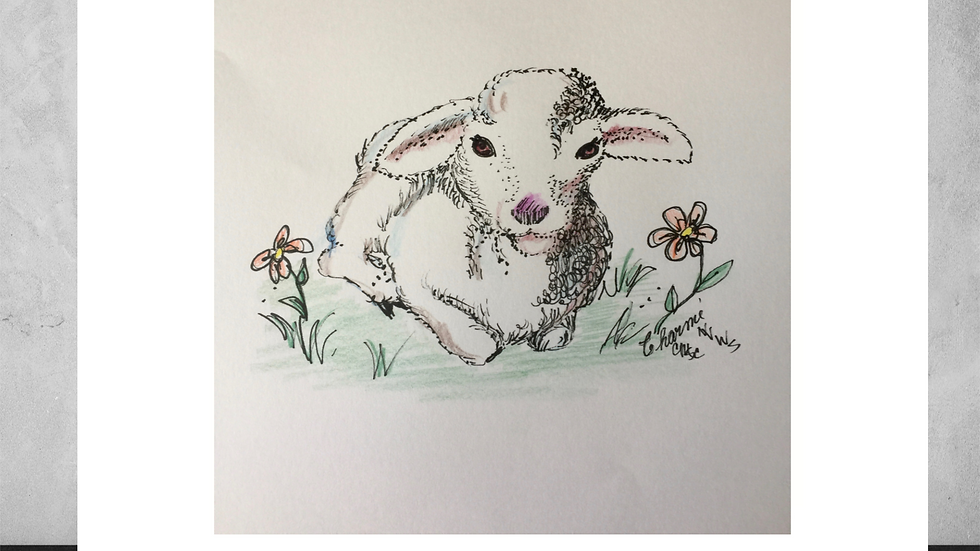 """Lamb in Flowers 5""""x 7""""  White Matted Print"""