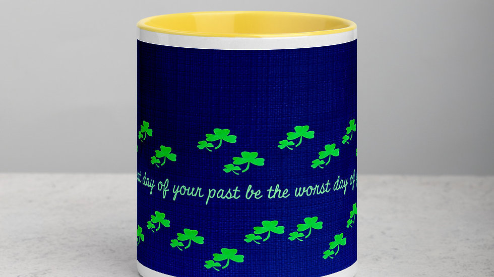 Irish Toast and Shamrocks Mug with Color Inside