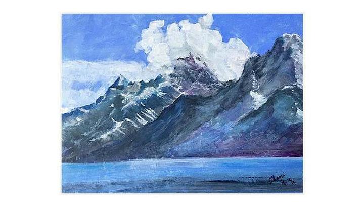 """Grand Tetons and Lake"".  Print"