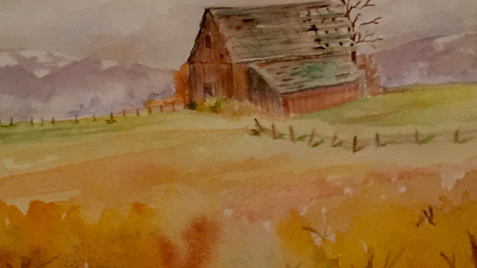 "Barn in Golden Field 8""x10"" Print"