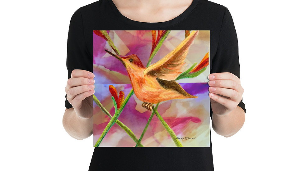 Poster Bright Hummingbird/Blurred Background Full of Color and Excitement