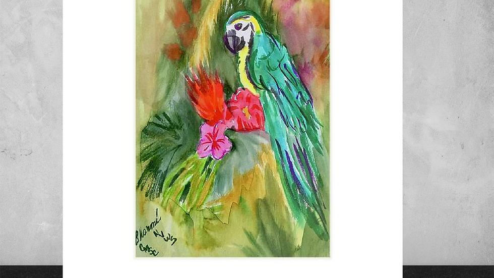 "Jungle Bird 5""x7""  White Matted Print"
