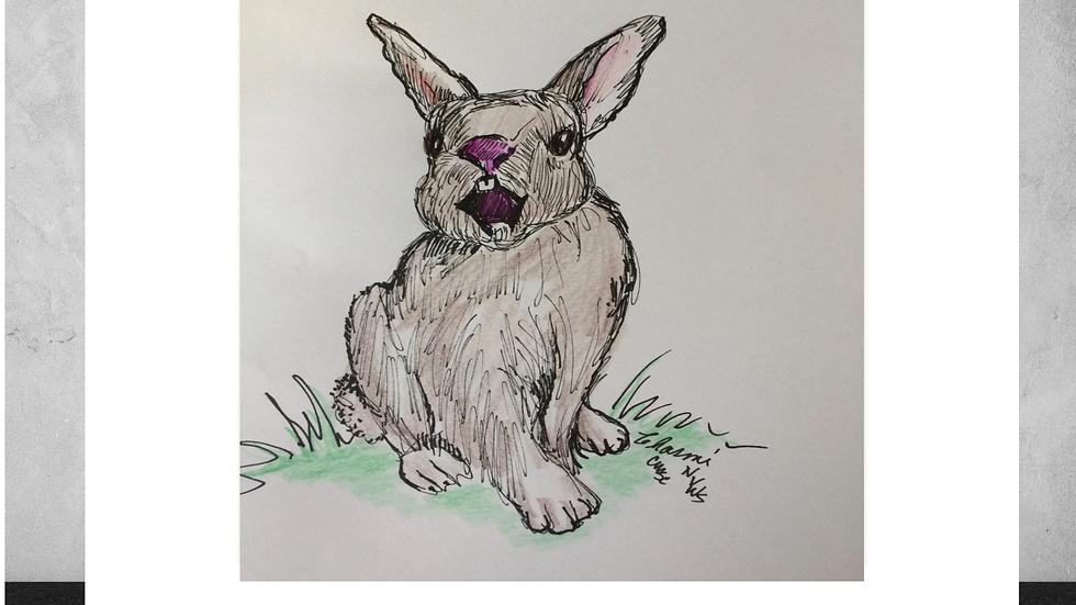 "Yawning Bunny 5""x7""  White Matted Print"