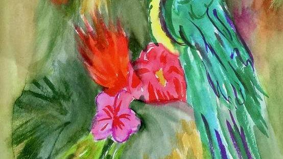 """ Colorful Parrot"" Print"