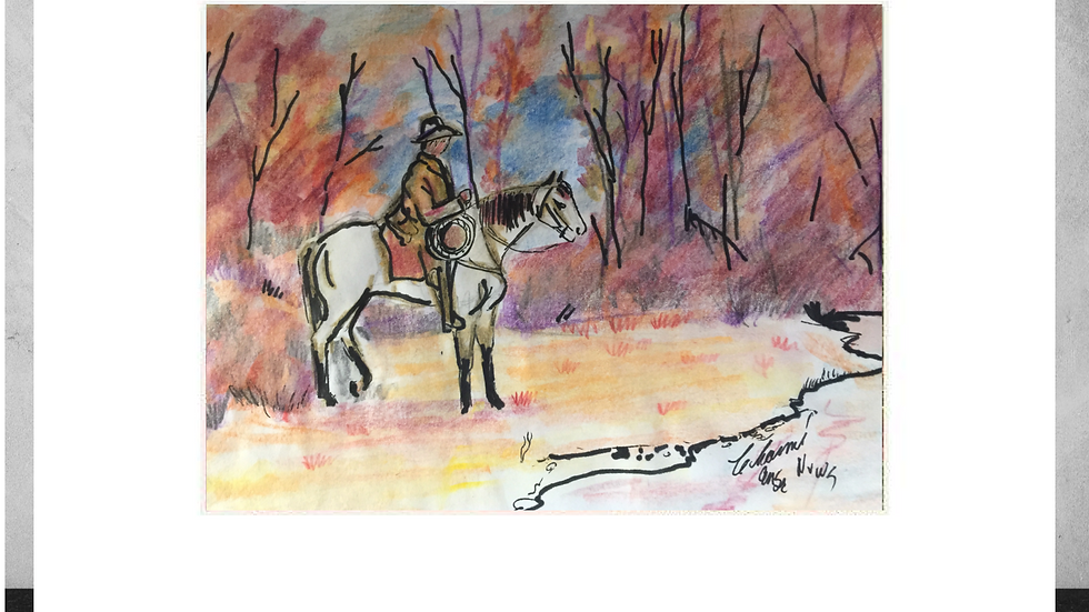 """Cowboy in the Woods  5""""x7""""  White Matted Print"""