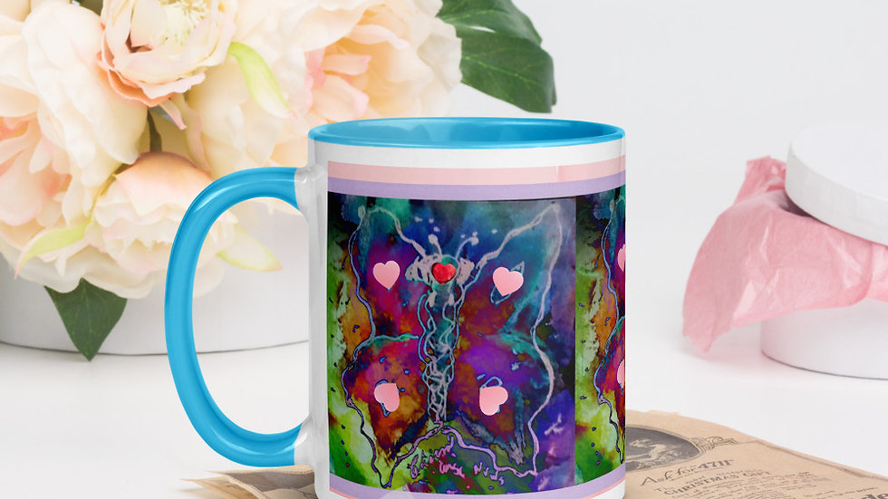 Butterfly and Hearts Mug with Color Inside