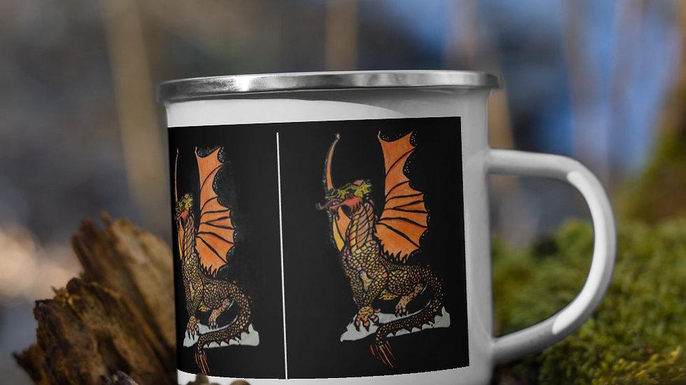 Fire Dragon Enamel Mug
