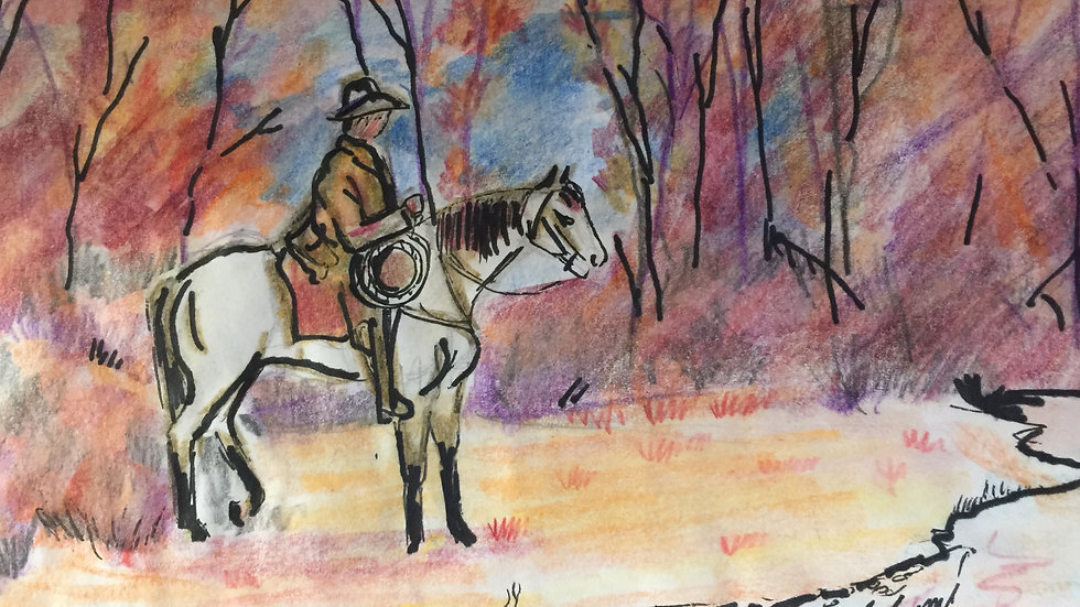 """Cowboy in the Woods 11""""x 14"""" Print"""