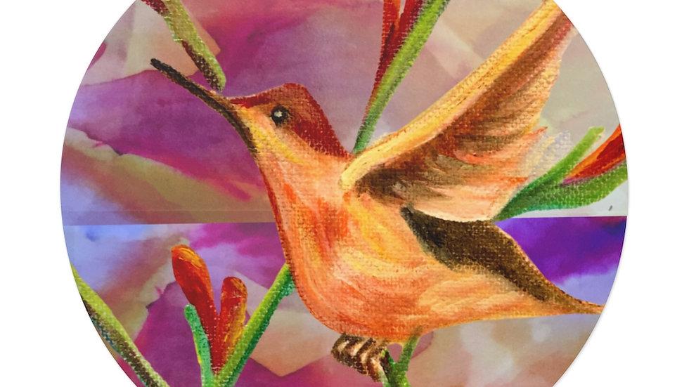 Coral Hummingbird Round Vinyl Stickers