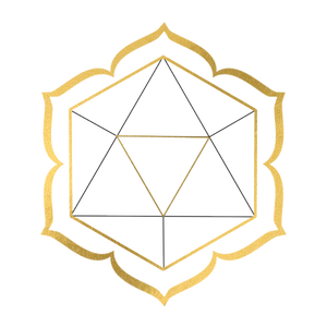 Icosahedron with a 6 pedaled lotus surrounding it
