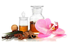 grasse perfume bottle and ingredients