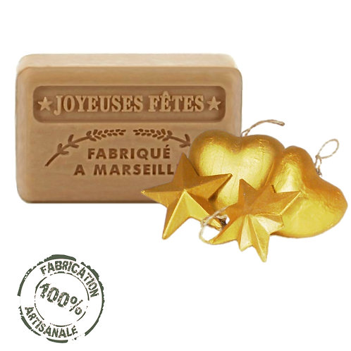 French Soaps Christmas Gold Front View