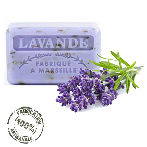Frenchsoaps Lavender Flowers Exfoliating Soap Front View