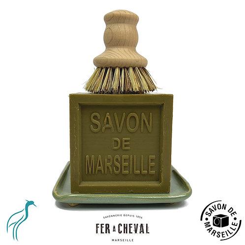 Savon de Marseille Dishwashing Set Olive/Green Side View