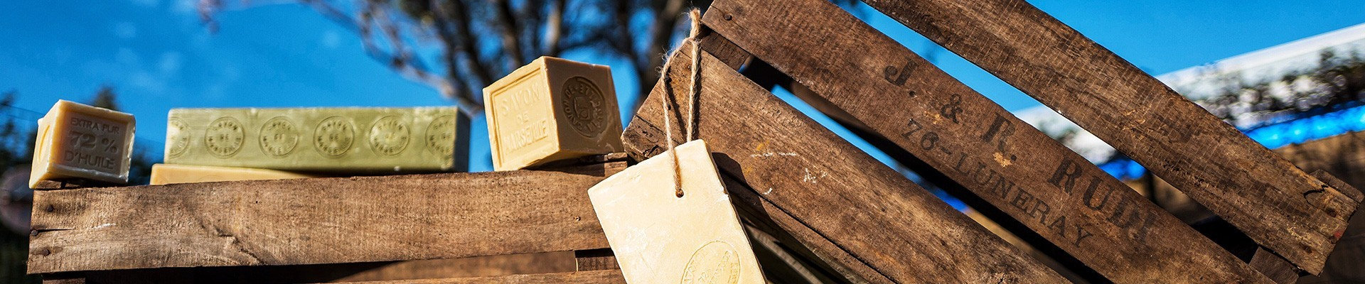 Traditional French Soap Cubes and Rustic Wooden Crates