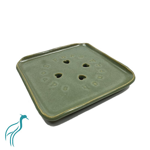"Handmade Ceramic Soap Dish - ""Green Tea"""