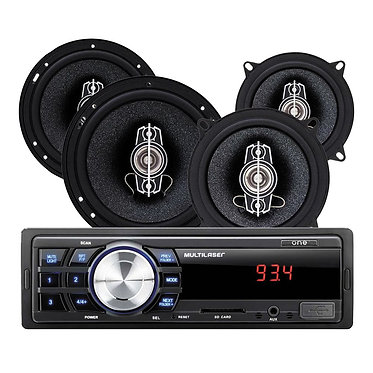"Kit Som Automotivo Multilaser One + Alto Falantes 6""+ 5"""