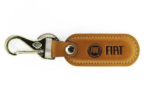 Chaveiro De Couro Mosquetão Emblema Fiat