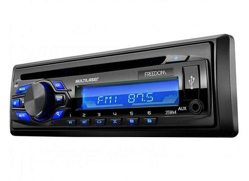 Radio MP3 CD Player Automotivo Multilaser Freedom - USB e Aux - P3239