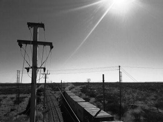 Kathu train at bridge - black and white