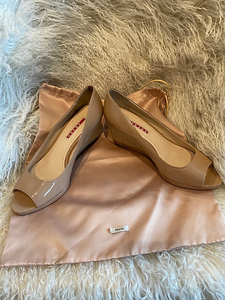 Tan Peep Toe Prada Wedges