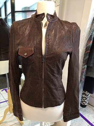 Dolce & Gabbana  Outdoor Brown Leather Jacket