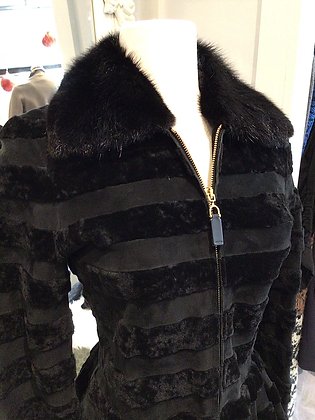 Gucci  Coat Black Leather and Lamb Fur