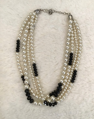 Faux Pearl & Black Crystals