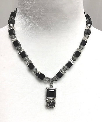 Black & Smokey Crystal Necklace by Myka