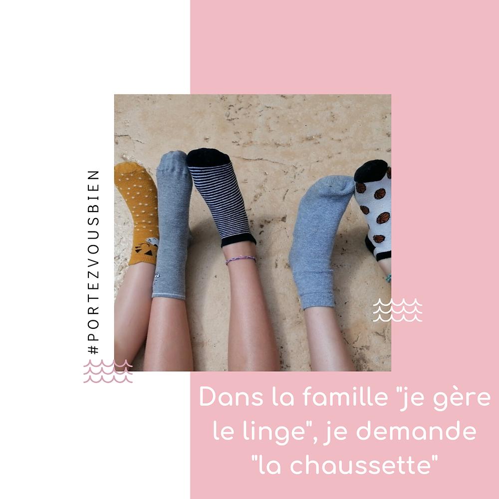 """Image de couverture de l'article de Blog Portez Vous Bien """"dans la famille je gère le linge , je demande la """"chaussette"""" Sur les chaussettes orphelines"""