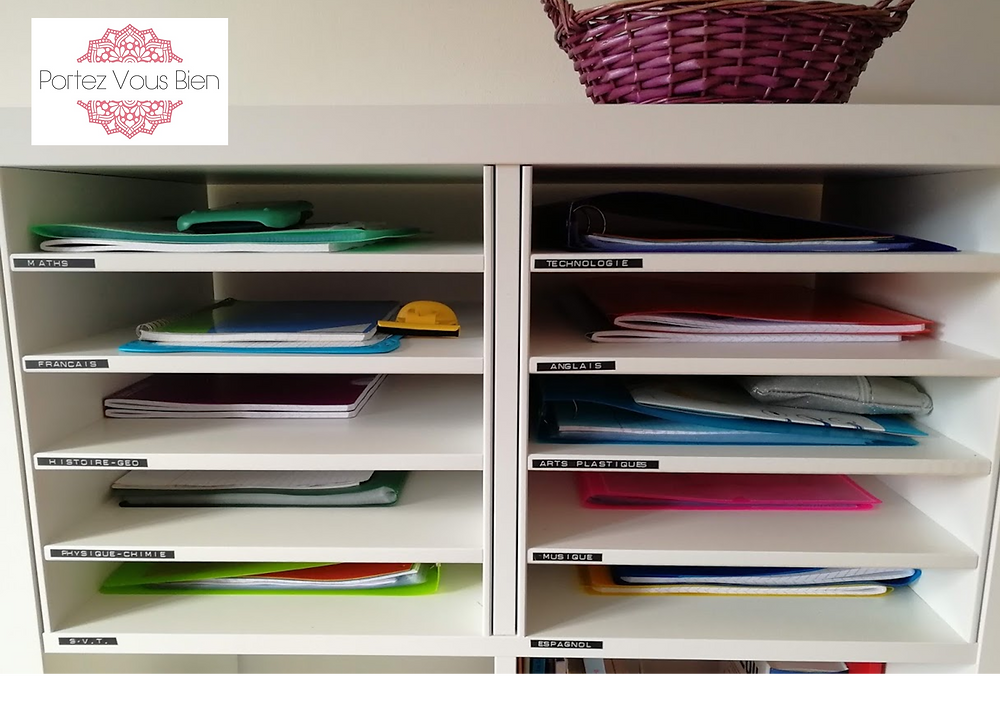 Portez Vous Bien organisation et rangement des affaires scolaires tri des matières au collège