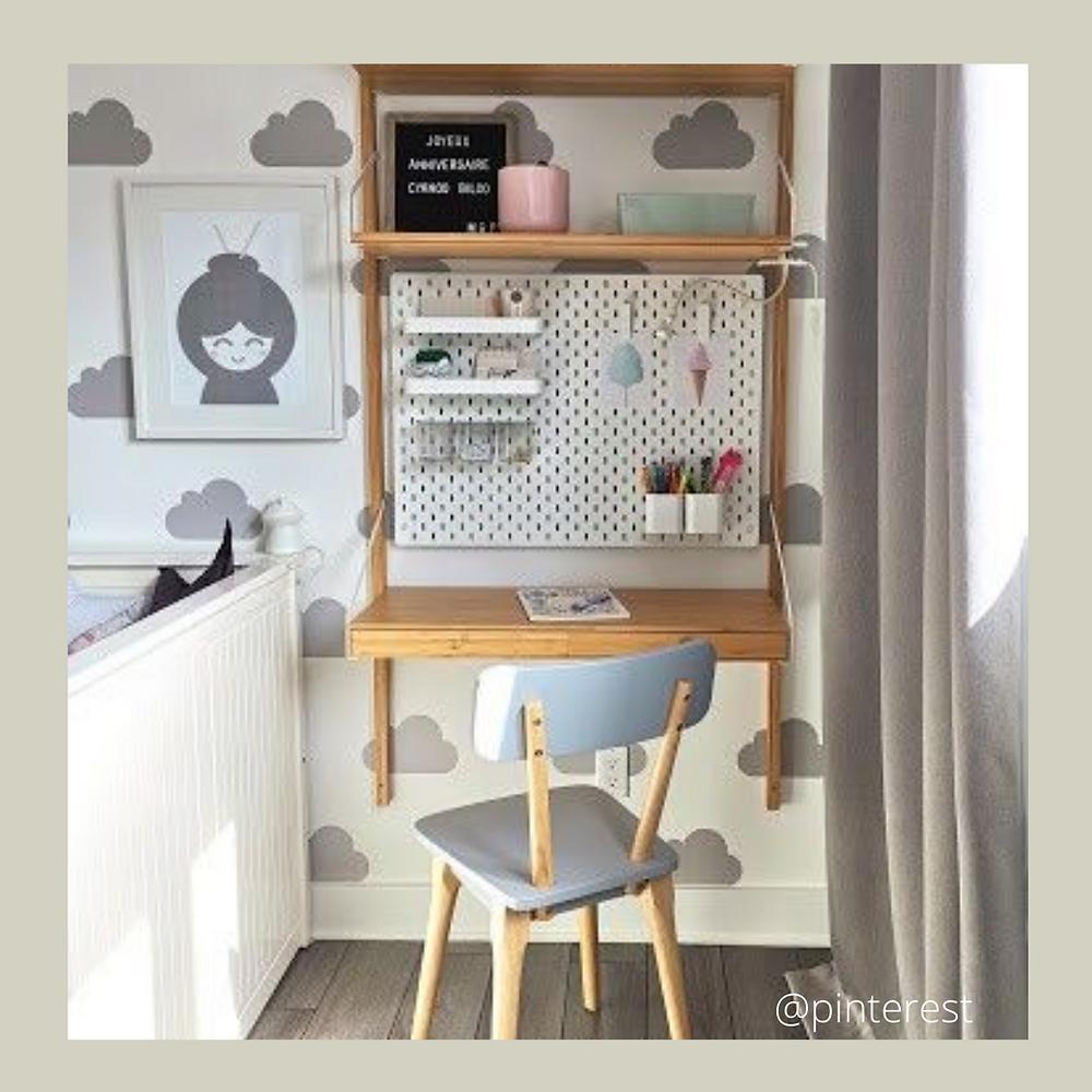 bureau minimaliste, petit espace, bureau simple