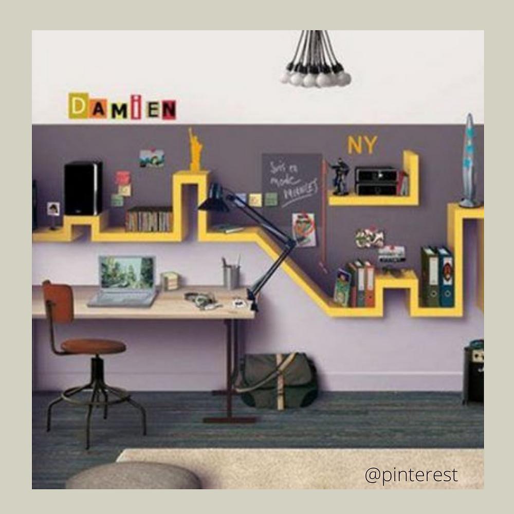 photo inspirante d'un bureau pour un collégien, thème city, new york, étagères originales