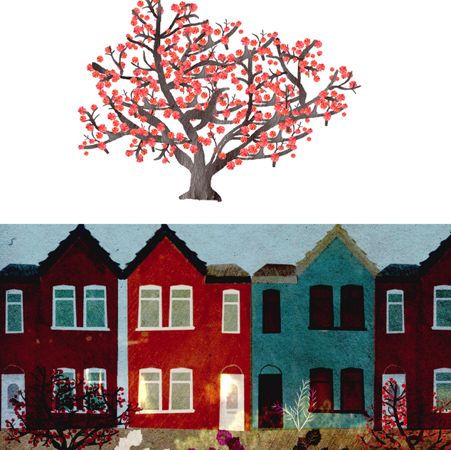 Pussy Willow exterior street scene with tree design