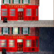 Ye Olde Rock n Roll pub design with final comp - lighting and rain added