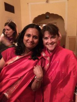 Samode party in saris.