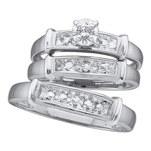 SET BODAS 1/12 ctw aprox. 8 puntos (1/12ctw centro) 1 Diamante Plata 925 4.78gr