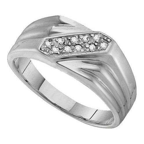 Anillo 0.03ctw. 3 puntos 9 diamantes Plata 925 3.43gr.
