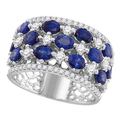 Ring 3 & 7/8ctw Sapphire Diamond 18k Gold