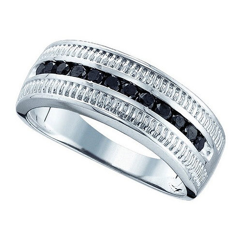 Anillo 1/2ctw aprox. 50puntos 12 diamantes Negros Plata 925 4.243 gr.