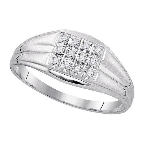Anillo 0.12ctw. 12.5 puntos 12 diamantes Plata 925 1.66gr.