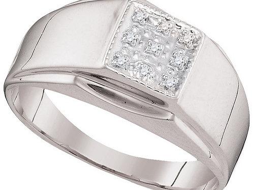 Anillo 0.03ctw 3 puntos 9 diamantes Plata 925 3.44gr.